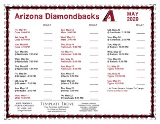 May 2020 Arizona Diamondbacks Printable Schedule