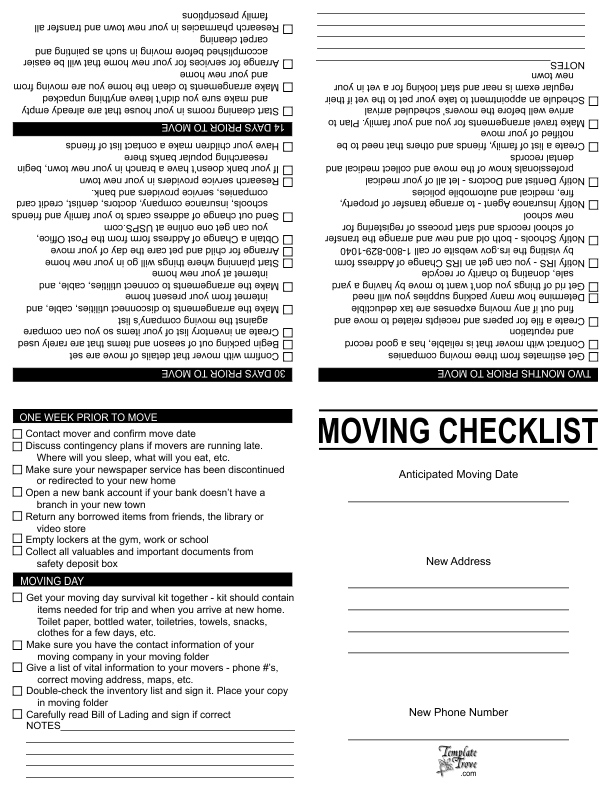 Moving-Checklist  Page Newsletter Templates on