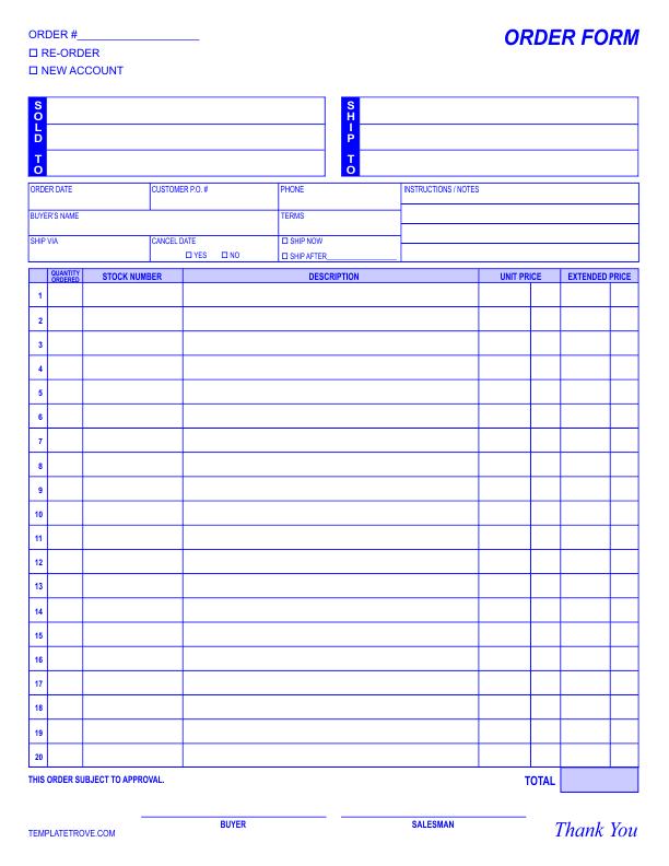 order form template. Black Bedroom Furniture Sets. Home Design Ideas