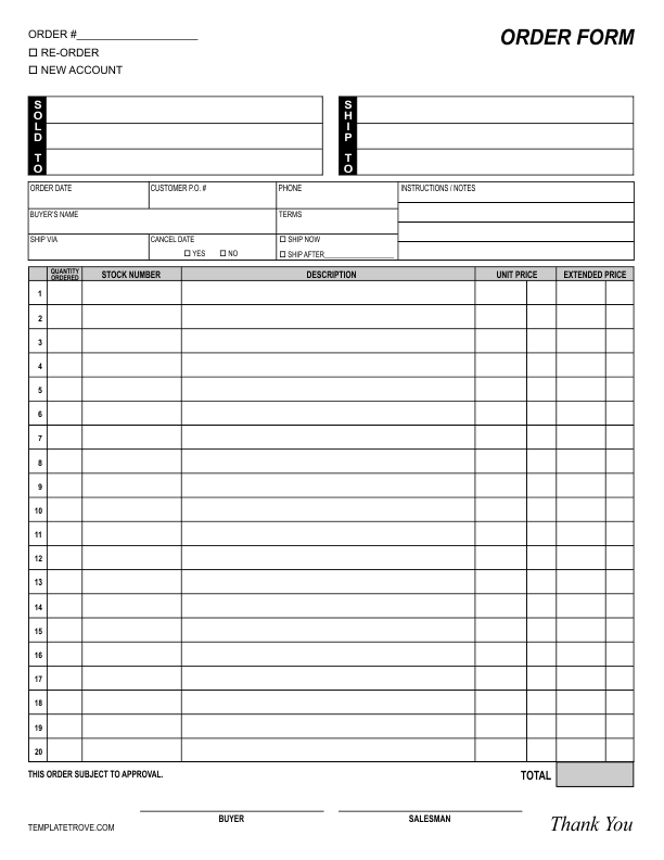 Order Form Template 1