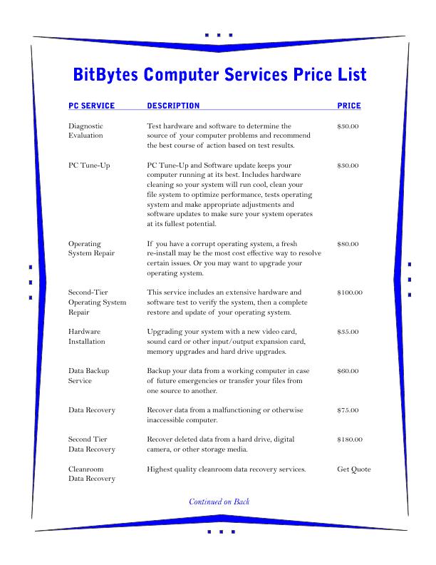 price list template 3