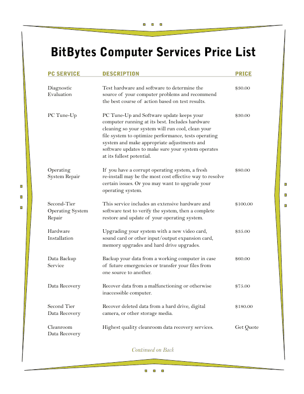 Price List Template 3