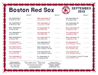 September 2018 Boston Red Sox Printable Schedule