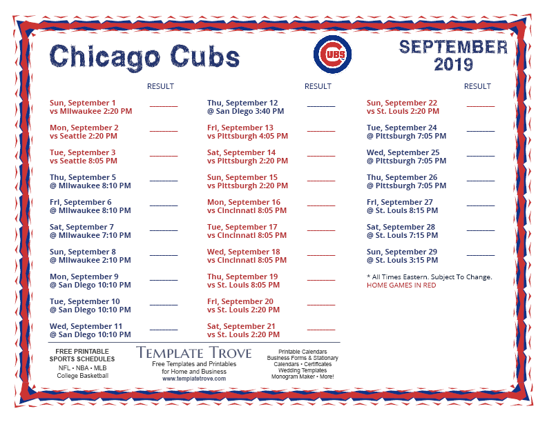 September-2019-Chicago-Cubs-Printable-Schedule-PNG Team Newsletter Template October on printable downloadable, free downloadable preschool,