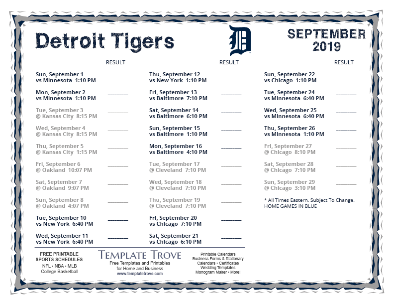 September-2019-Detroit-Tigers-Printable-Schedule-PNG Team Newsletter Template October on printable downloadable, free downloadable preschool,