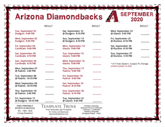 September 2020 Arizona Diamondbacks Printable Schedule