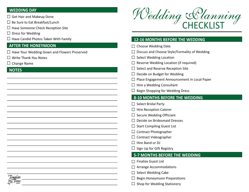 Wedding planning checklist for Free wedding planner templates